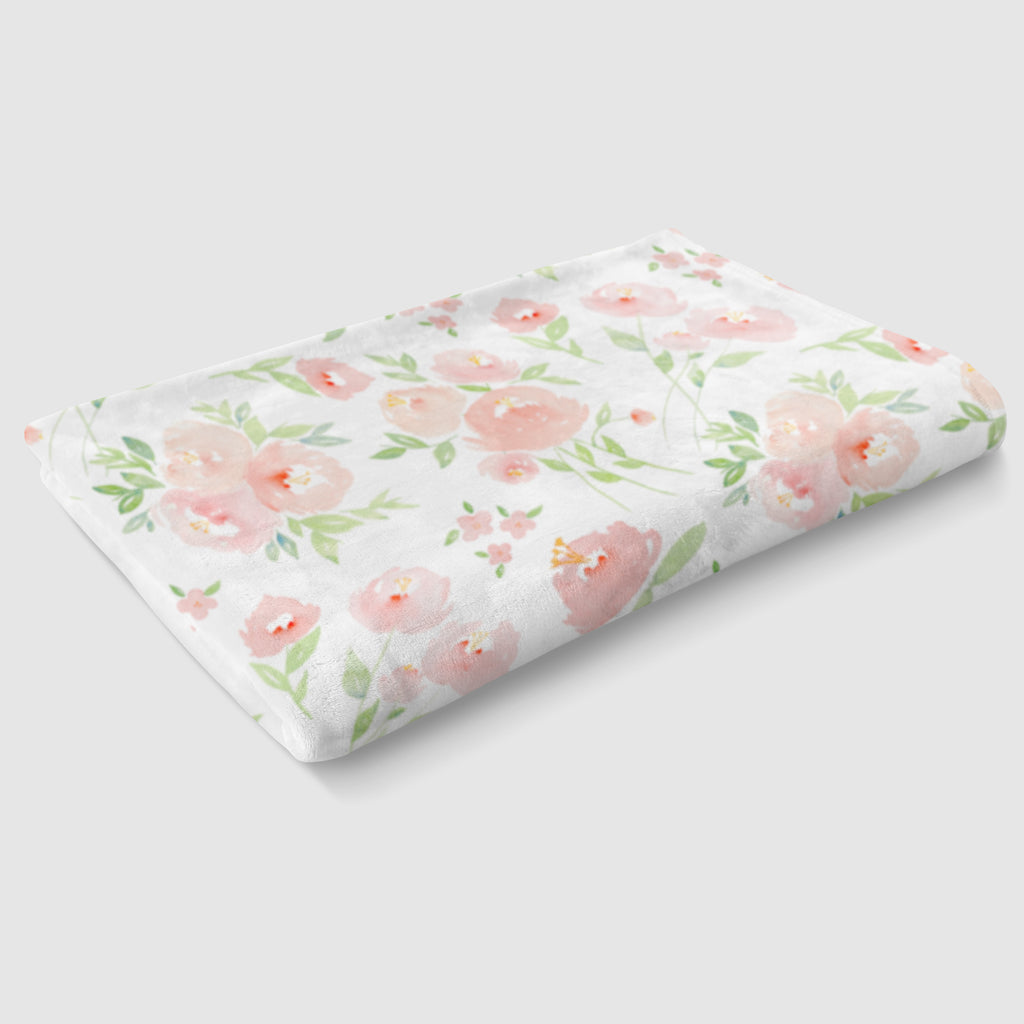 Peach Floral Minky Baby Blanket - Hillary Proctor Studio
