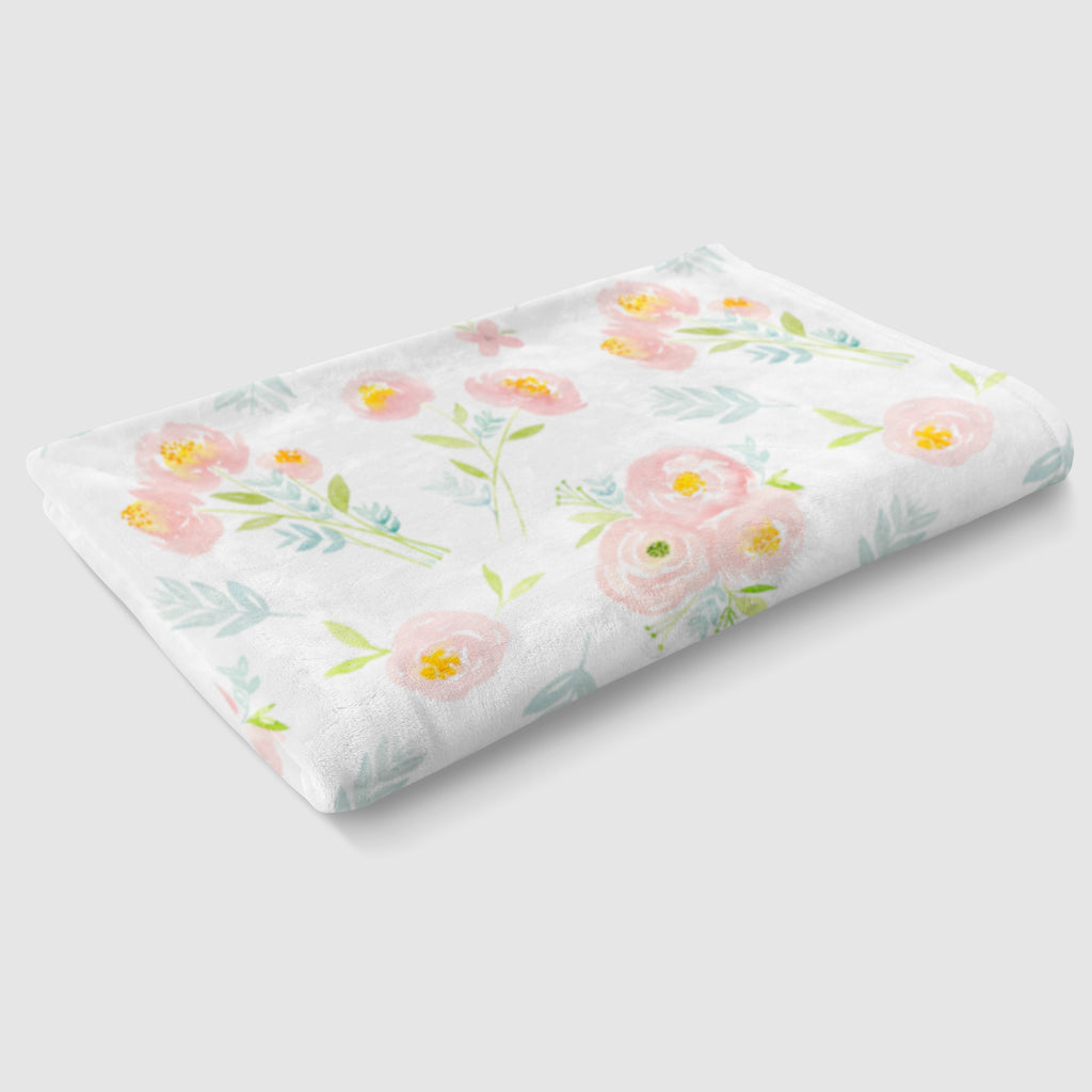 Soft Pink and Blue Floral Minky Baby Blanket