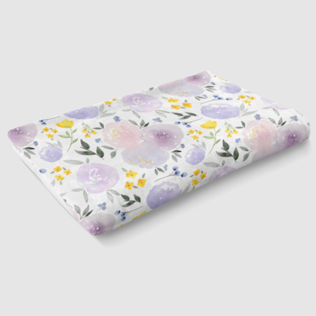 Purple and Yellow Floral Minky Baby Blanket