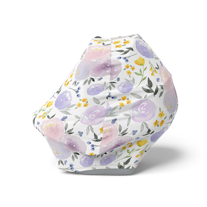 Purple and Yellow Floral Nursing Cover