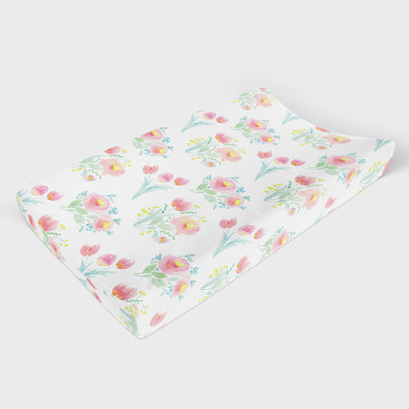 Rainbow Flowers Changing Pad Cover - Hillary Proctor Studio