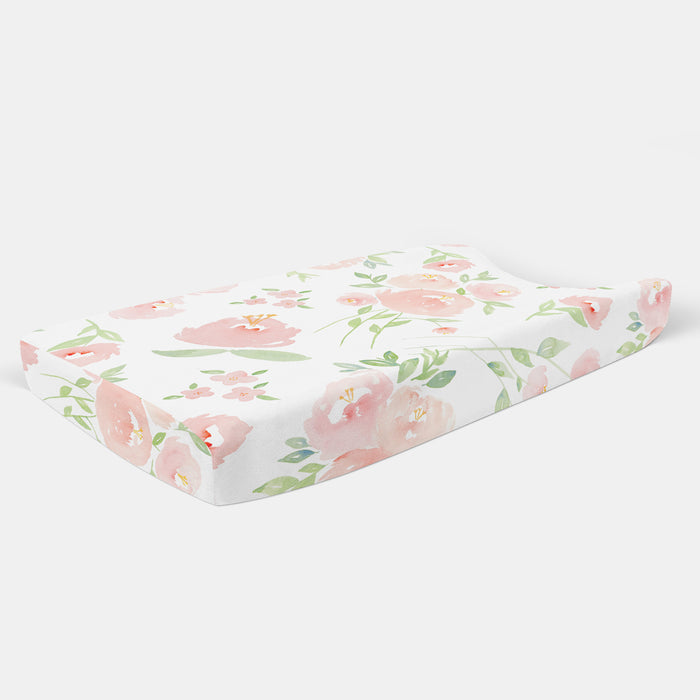 Peach Floral Changing Pad Cover - Hillary Proctor Studio