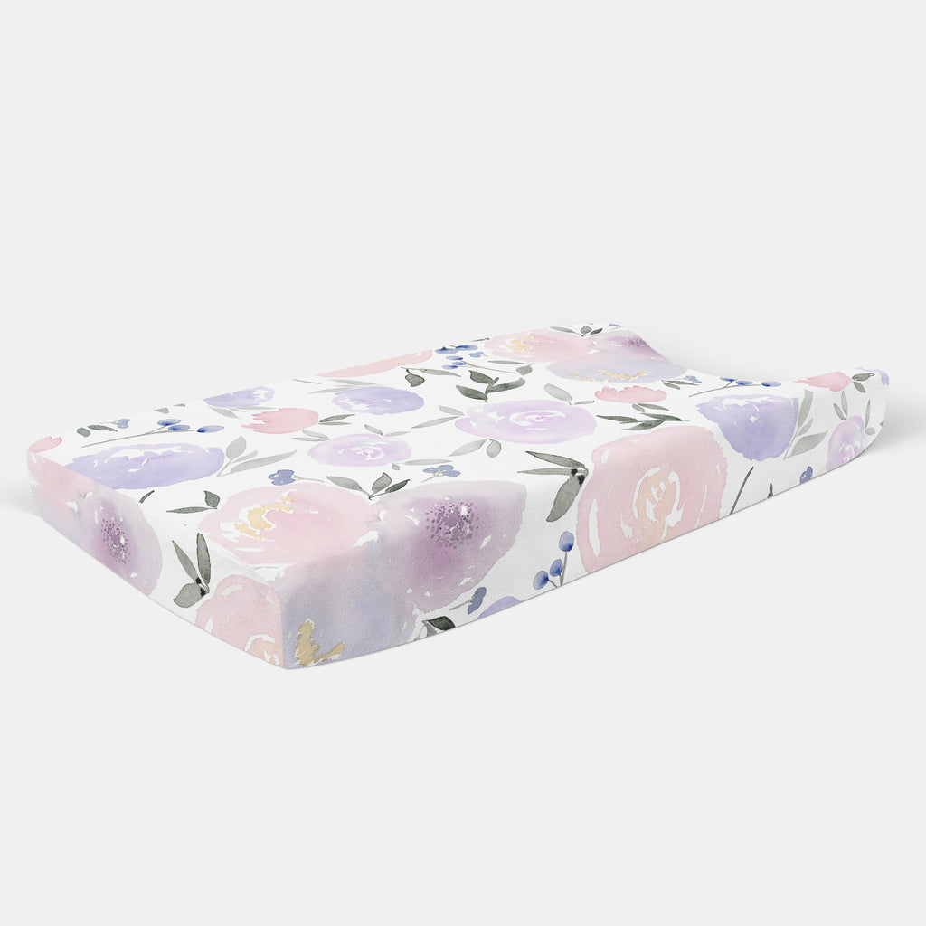 Purple Floral Changing Pad Cover - Hillary Proctor Studio