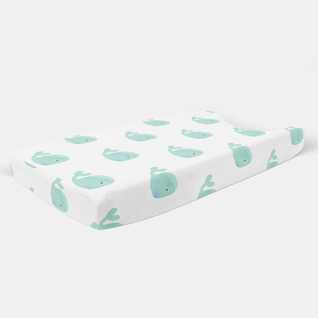 Whale Changing Pad Cover - Hillary Proctor Studio
