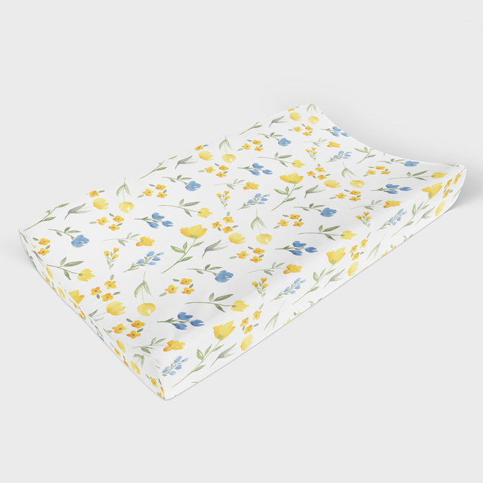 Yellow Wildflower Changing Pad Cover - Hillary Proctor Studio