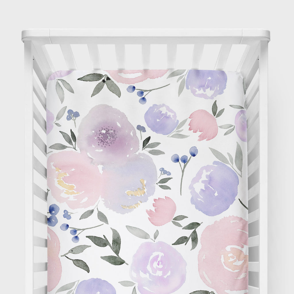 Purple Floral Crib Sheet - Hillary Proctor Studio