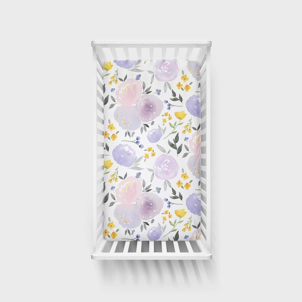 Purple and Yellow Floral Crib Sheet