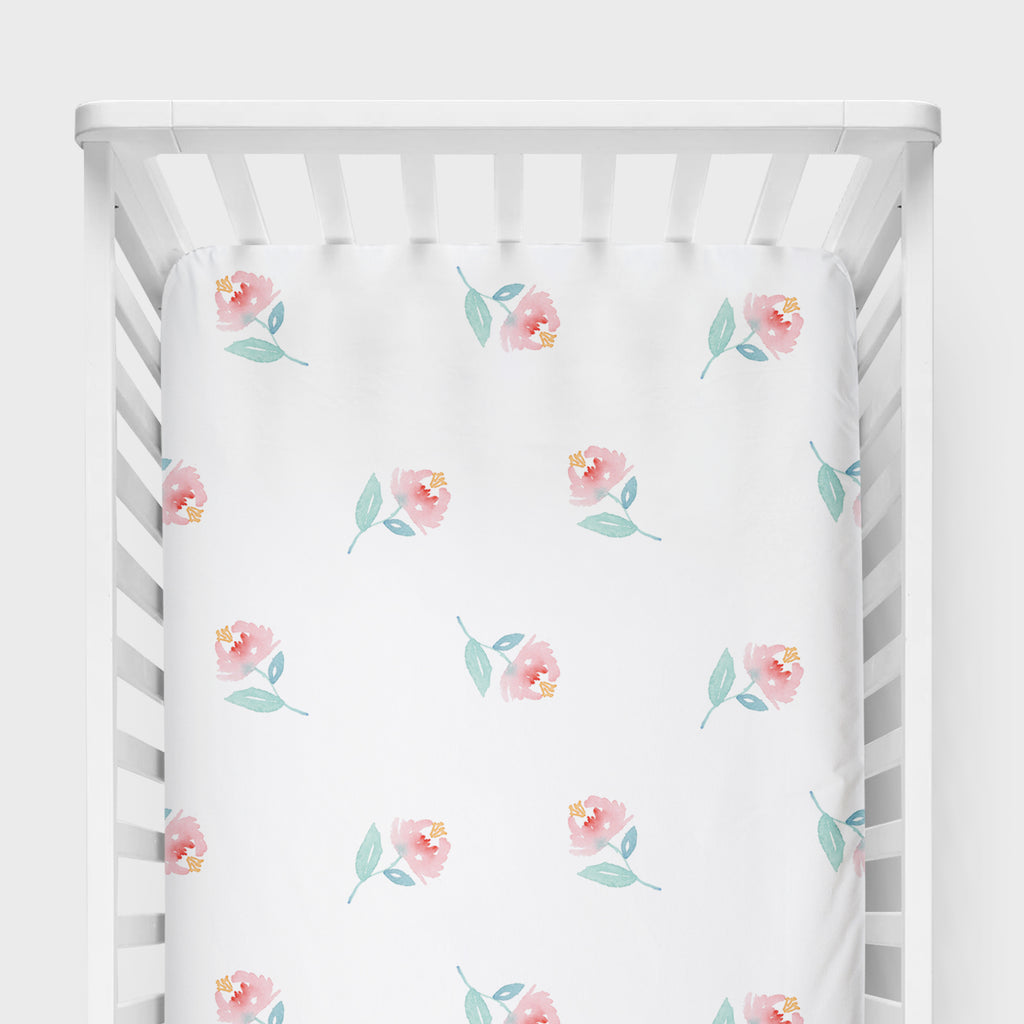 Sweet Pea Floral Crib Sheet - Hillary Proctor Studio