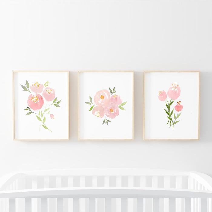 Pink Floral Nursery Print Collection