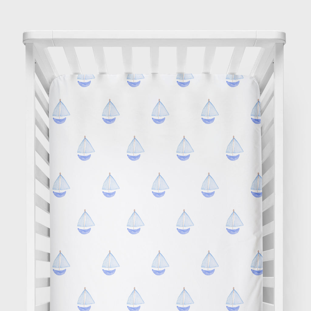 Nautical Sailboat Crib Sheet