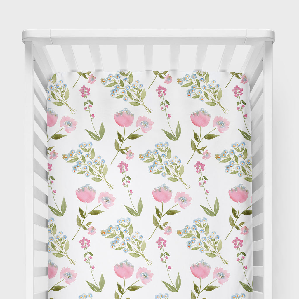 Woodland Floral Crib Sheet
