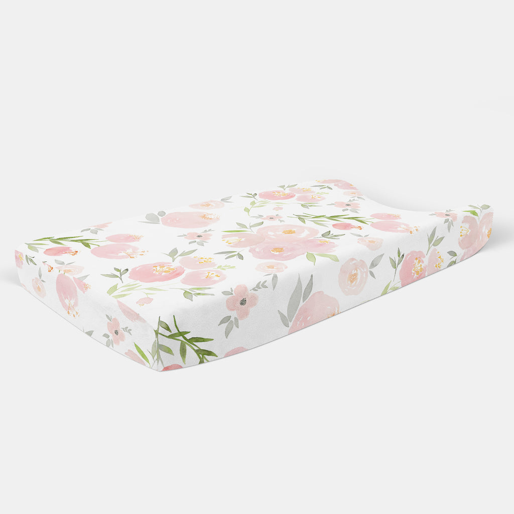 Pink Floral Changing Pad Cover - Hillary Proctor Studio