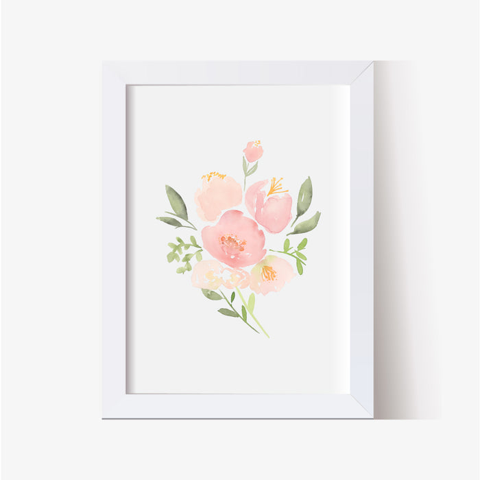 Set of 6 Pink Floral Nursery Prints - Hillary Proctor Studio