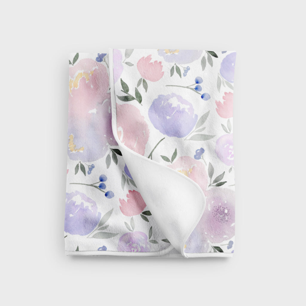 Purple Floral Fleece Baby Blanket - Hillary Proctor Studio
