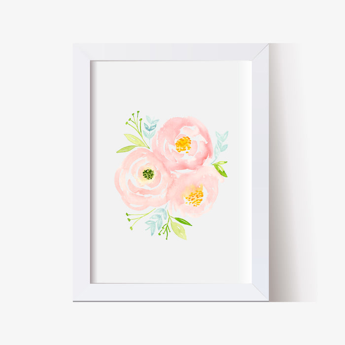 Soft Pink and Blue Floral Nursery Prints