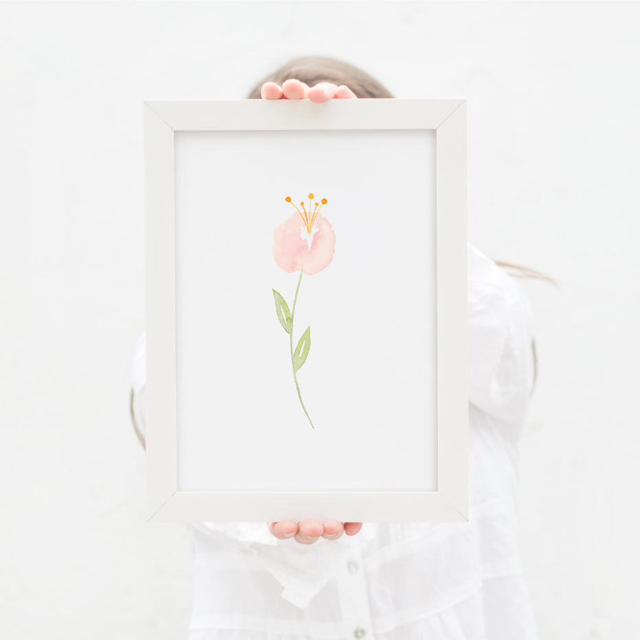 Single Pink Peony Art Print - Hillary Proctor Studio