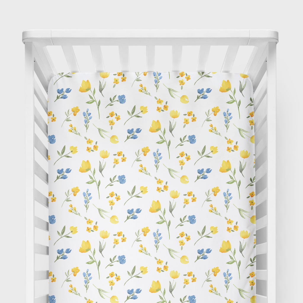 Yellow Wildflower Crib Sheet - Hillary Proctor Studio
