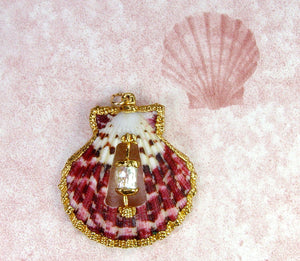 Scallop Shell Pendant With  Pearl Accent