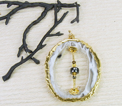 Sliced Geode Pendant With An Accent Bead