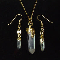 Quartz Crystal Earrings And Necklace Set