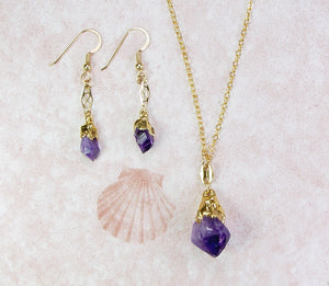 Amethyst Earrings And Necklace Set