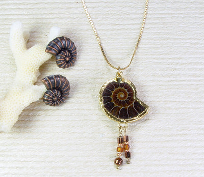 Ammonite Necklace With Decorative Beads
