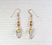 Quartz Crystal Earrings With Accent Beads