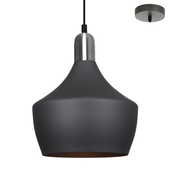 Callum 1 Light Charcoal and Satin Chrome Pendant by Amond