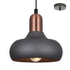 Marley 1 Light Charcoal and Rustic Copper Pendant by Amond