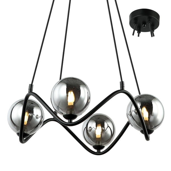 Raku 4 Piece Black and Smoke Glass Pendant by Amond