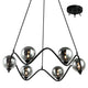 Raku 6 Piece Black and Smoke Glass Pendant by Amond