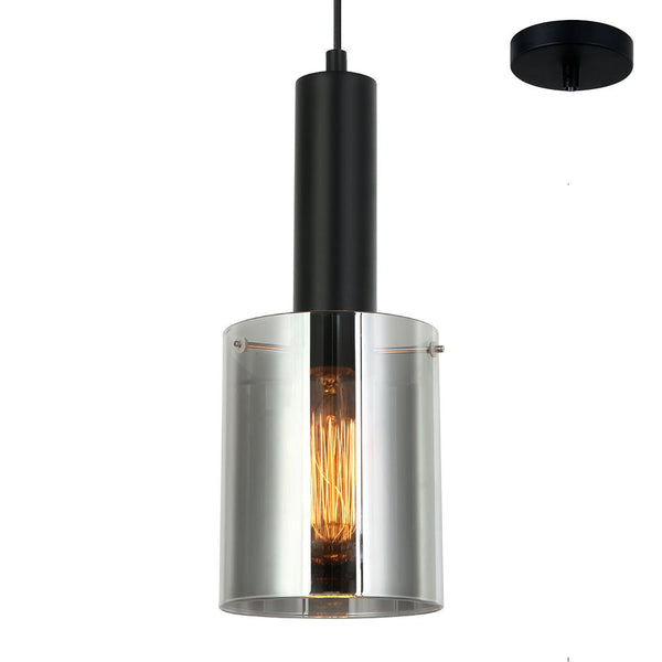 Rory Smoke Glass Cylinder and Black Pendant by Amond