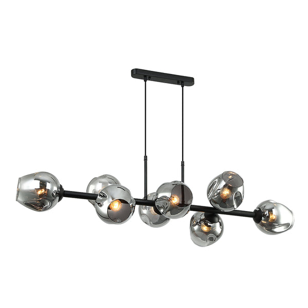 Styx 8 Piece Black and Dimple Smoke glass pendant by Amond