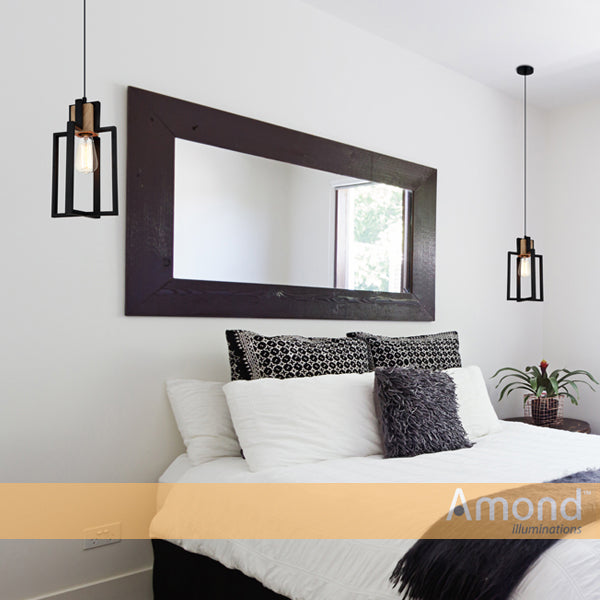 Aria Timber and Black Architectural Pendant by Amond