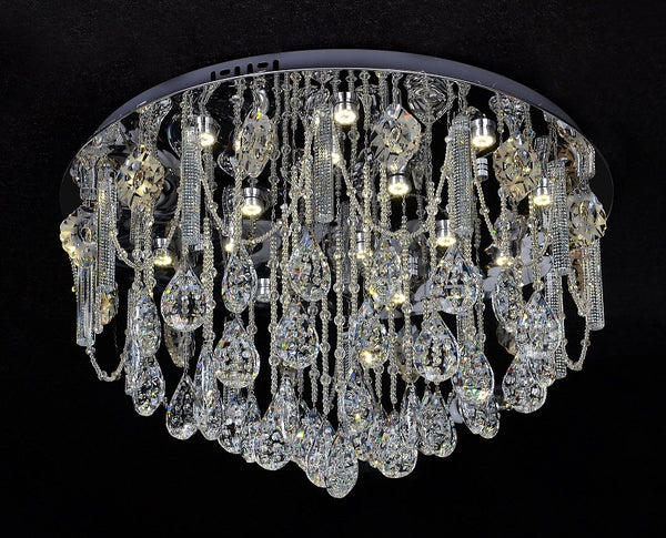 Bliss 600mm Crystal Drape and Prism Rod Ceiling Fixture by Amond