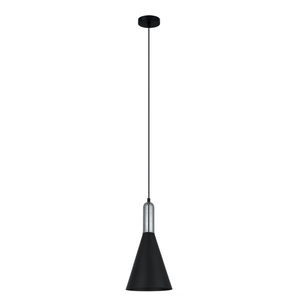 Cyrus Black and Chrome Hybrid Industrial Pendant by Amond
