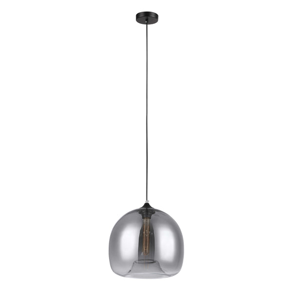 Edith 300 Smoke Chrome Bulb Glass Pendant by Amond