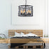 Esha 6 Light Industrial Cross Cage Drum Pendant by Amond