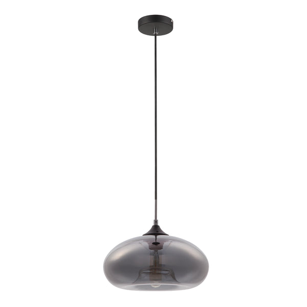 Gina 270 Smoke Chrome Bulb Glass Pendant by Amond