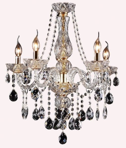 Theresa 5 Light Clear and Gold Candelabra Chandelier by Amond