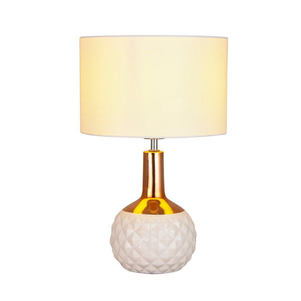 Imara Copper and White Hatch Impression Table Lamp by Amond