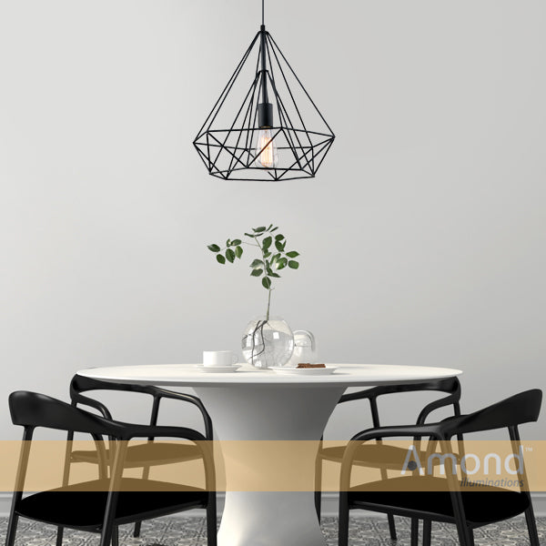 Inca 380 Black Prism Wireframe Pendant by Amond