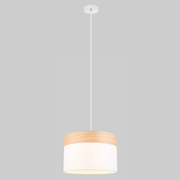 Pamela 300 White and Timber Drum Shade Pendant by Amond