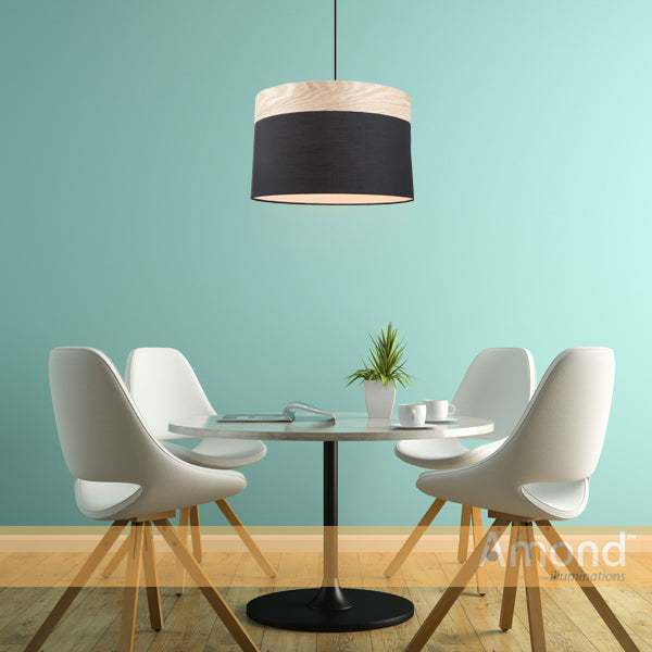 Pamela 400 Black and Timber Drum Shade Pendant by Amond