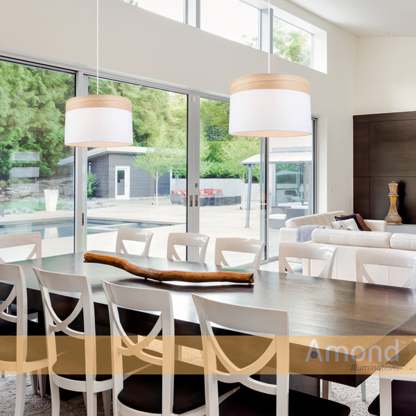 Pamela 400 White and Timber Drum Shade Pendant by Amond