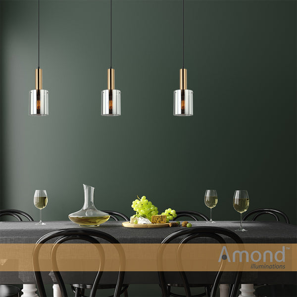 Rory Smoke Glass Cylinder and Bronze Pendant by Amond