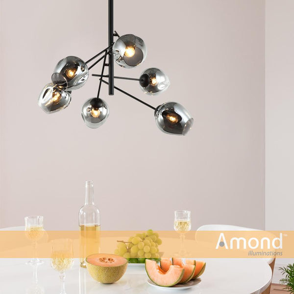 Styx 6 Piece Black and Dimple Smoke glass pendant by Amond