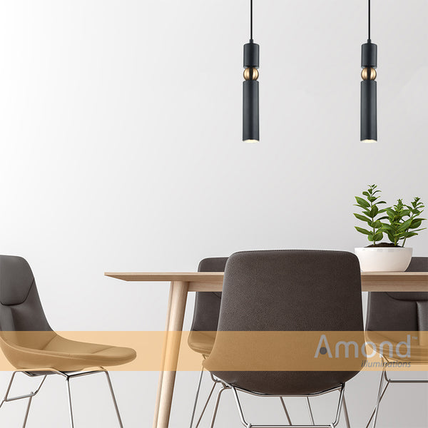 Sasha Black and Bronze Slim Cylinder and Sphere Pendant by Amond