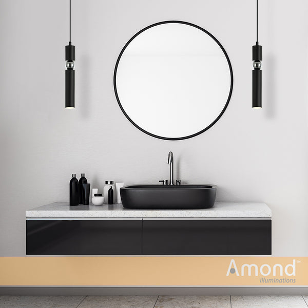 Sasha Black and Chrome Slim Cylinder and Sphere Pendant by Amond