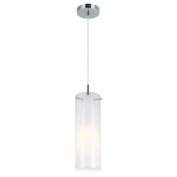 Vida 1 Light Pendant Opal and Clear Glass by Amond